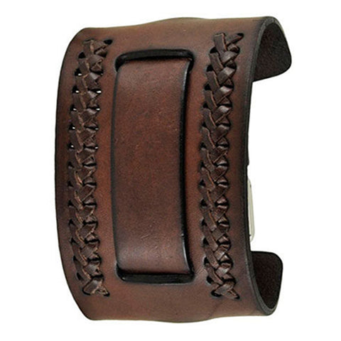 Dark Brown Wide Weaved 2 Pc. Leather Cuff Watch Band 24mm DBWA