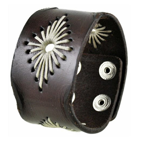 Brown Diamond Stitched Leather Bracelet Cuff Band 508B