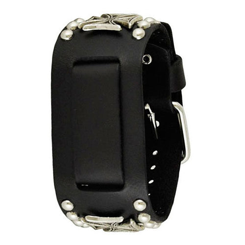 Black Metal Iron Cross Studded Leather Cuff Watch Band 20mm MIC