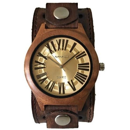 BVST265G Nemesis natural Wood case watch with vintage leather cuff band
