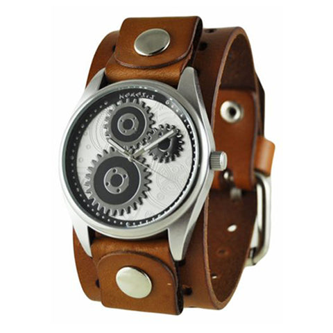 Silver Geared Watch with Basic Brown Leather Cuff Band B112S