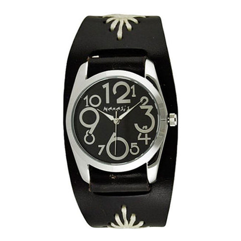 Black ShowGirl Watch with Junior Size Black Diamond Stitched Leather Cuff Band BF109K