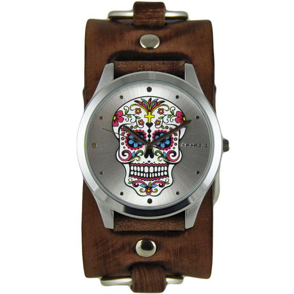 Silver Sugar Skull Watch with Faded Brown Ring Leather Cuff Band BFRB925S