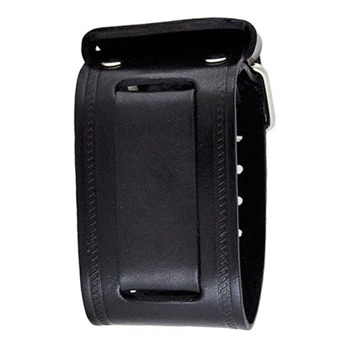 Black Large Embossed Strip Leather Watch Cuff Band 24mm KIN