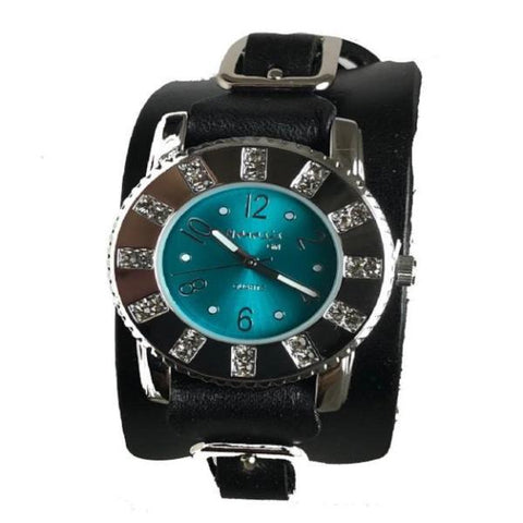 311 B2BG Nemesis ladies trendy look crsytal watch with Black leather cuff band