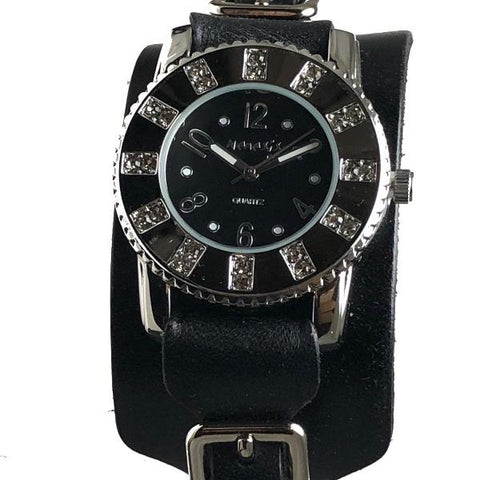 311B2BK Nemesis ladies trendy look watch in Black leather cuff band