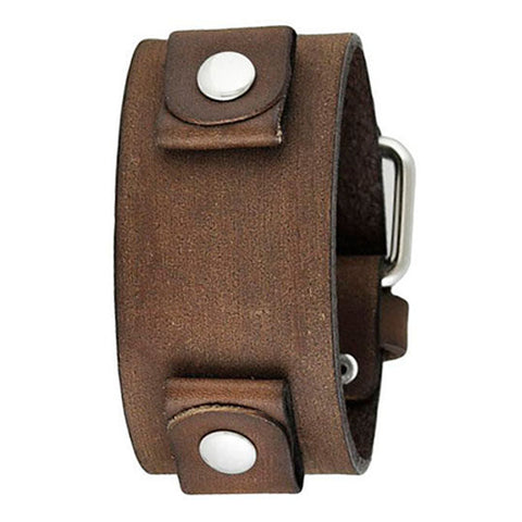 Junior Size Faded Brown Leather Cuff Watch Band 20mm BFGB