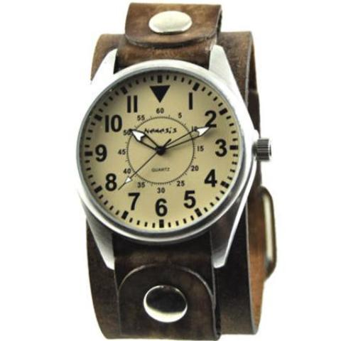 Yellow Unique Watch with Classy Faded Brown Leather Cuff Band 095Y-FBNB