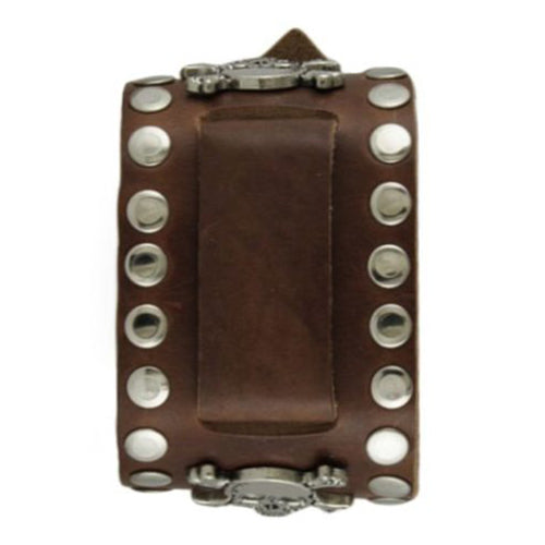 Brown Wide Large Skull Studded Leather Watch Cuff Band BSSM