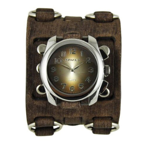 Brown Oval Gradient Watch with Faded Brown Wide Detail Leather Cuff Band BFWB091B