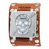 Silver Cross Bone Skull Watch with Brown Leather Studded Cuff Band BSM930S
