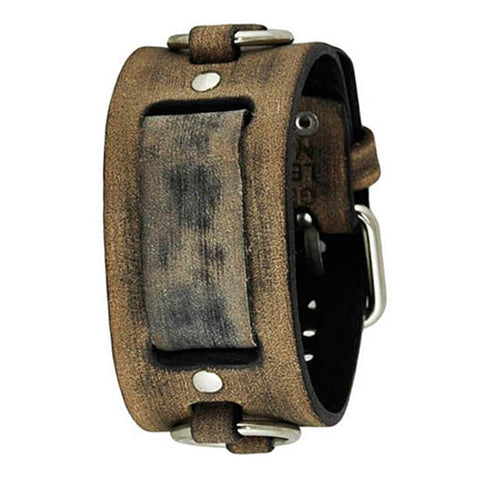 Faded Light Brown Leather Ring Cuff Watch Band 20mm KDFRB