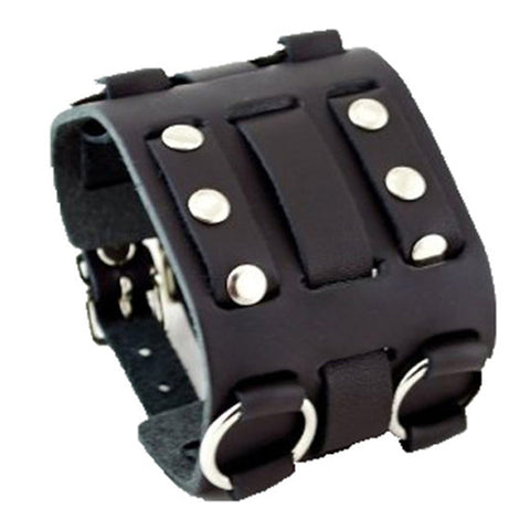 Black Wide Detailed Leather Cuff Band WB