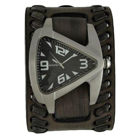 Black Oversized Teardrop Watch with Faded Black Wide Weaved Vintage Style Leather Cuff Band VBDK011K