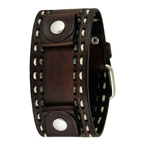 Dark Brown Double Stitched Leather Cuff Watch Band 22mm DBDSTH