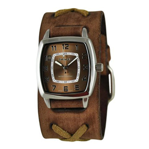 Brown Classic Vintage Watch with Faded Brown X Leather Cuff Band BFXB017B