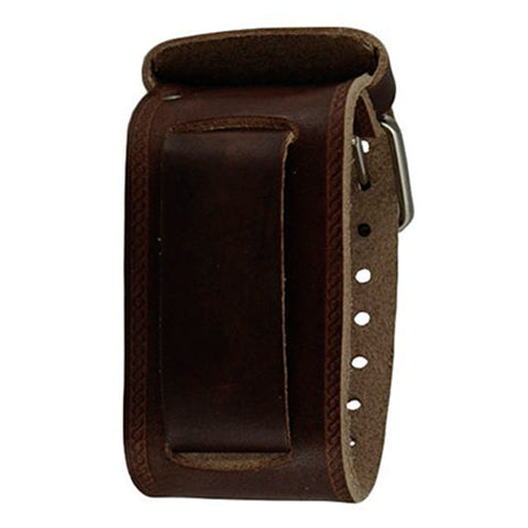 Wide Brown Embossed Strip Leather Watch Cuff Band BKIN