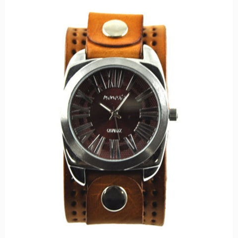 Retro Roman Brown Leather Band 098R-PLB