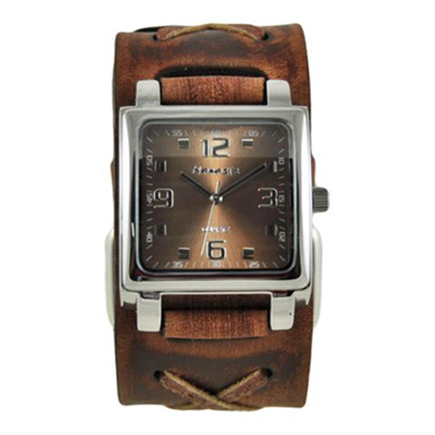 Brown Lite SQ Watch with Brown Faded X Leather Cuff Band 516BFXBB