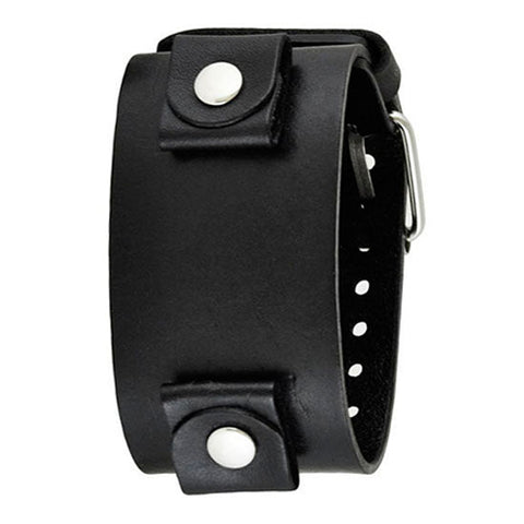 Black Wide XL Leather Cuff Watch Band 24mm LBBN