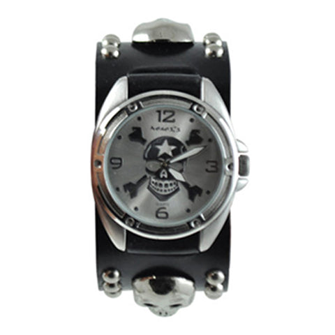 Silver Cross Bones Skull Watch with Black Skull Studded Cuff Band MSK906S