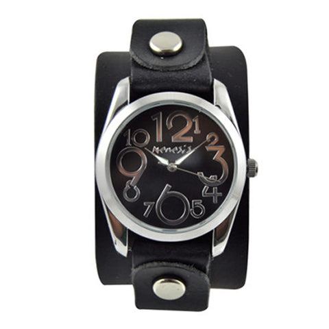 Black ShowGirl Watch with Junior Size Black Leather Cuff Band GB109K