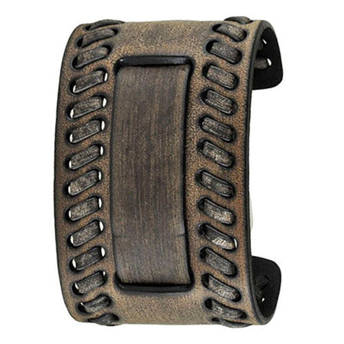 Faded Black Wide Weaved 2 Pc. Leather Cuff Watch Band 24mm VBDK