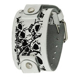 WhiteBlack Large Multi-Skulls Leather Cuff Watch Band 24mm LWMS