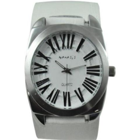 Retro Roman Watch with White Embossed Leather Cuff Band WHST098W