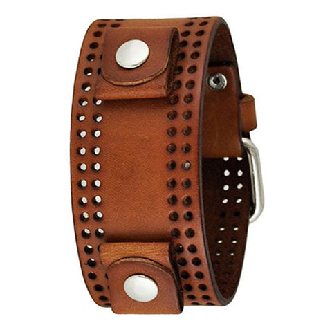 Brown Perforated Leather Cuff Watch Band 20mm PLB