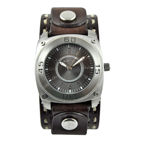Black Round Mix & Match Watch with Dark Brown Double Stitched Leather Cuff Band DBDSTH012K