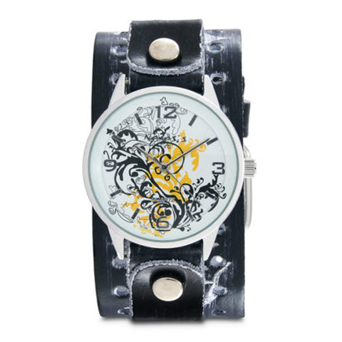 Yellow Plant Art Watch with BlackWhite Tribal Thorn Design Leather Cuff Band THR827N