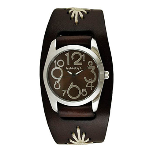 Brown ShowGirl Watch with Junior Size Dark Brown Diamond Stitched Leather Cuff Band BBF109B