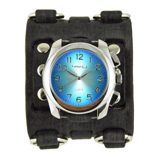 Blue Oval Gradient Watch with Wide Detail Faded Black Leather Cuff Band FWB091L