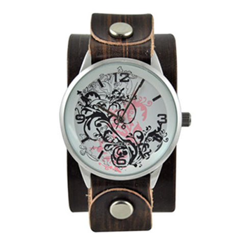 Pink Plant Art Black Watch with Small Brushed Brown Leather Band BVGB827P