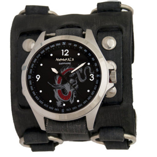 Nemesis Dragon Series Sapphire Crystal Glass with Black Three Buckle Leather Cuff Band, FWB250D-front