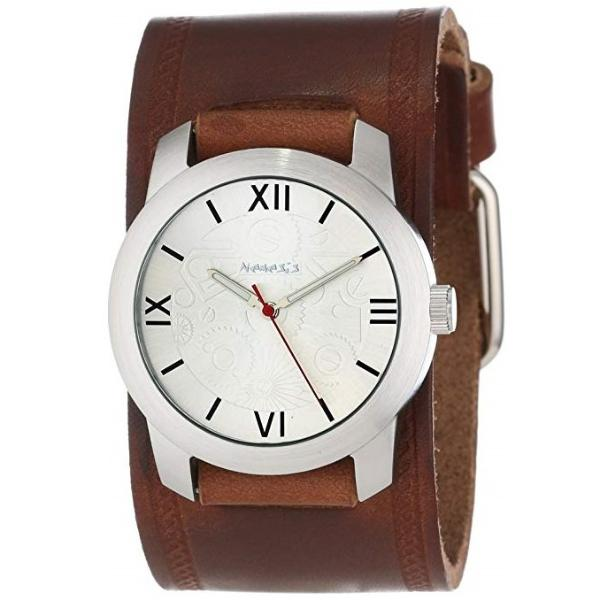 Silver Elite Watch with Brown Embossed Leather Cuff Band BHST068S