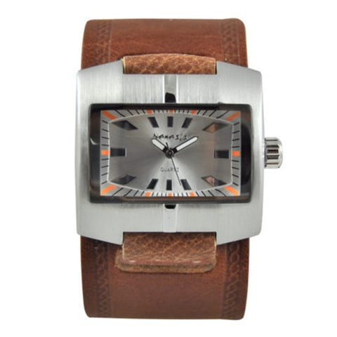Silver Racing Sport Unisex Watch with Brown Embossed Leather Cuff Band BHST060S