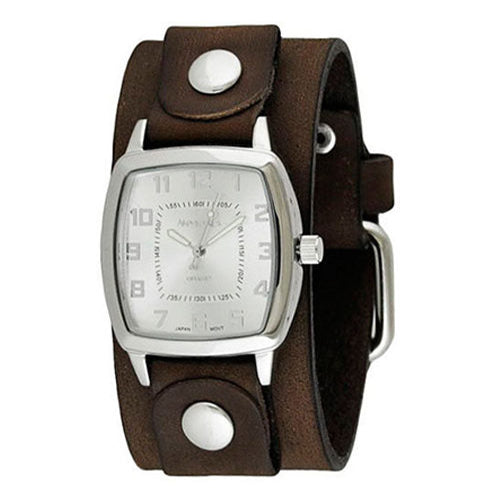 Silver Classic Vintage Watch with Junior Size Faded Brown Leather Cuff Band BFGB017S