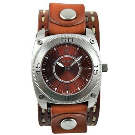 Brown Round Mix & Match Watch with Brown Double Stitched Leather Cuff Band BDSTH012B