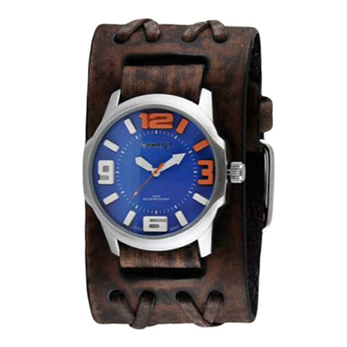 Blue Orange Embossed 3D Collection II Watch with Faded Brown Double X Leather Cuff Band BVDXB107L