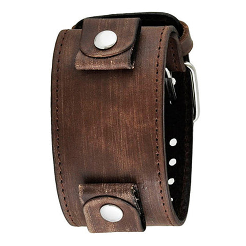 Faded Brown XL Stitch Leather Cuff Watch Band 24mm FBLBB
