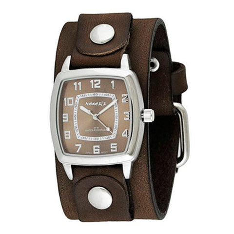 Brown Classic Vintage Watch with Junior Size Faded Brown Leather Cuff Band BFGB017B