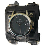 FWB529k stainless steel 5 ATM water resistant with wide detailed  leather cuff band watch