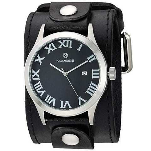 LBB529K Roman DX series Watch with 2 inches  Black wide leather Cuff Band