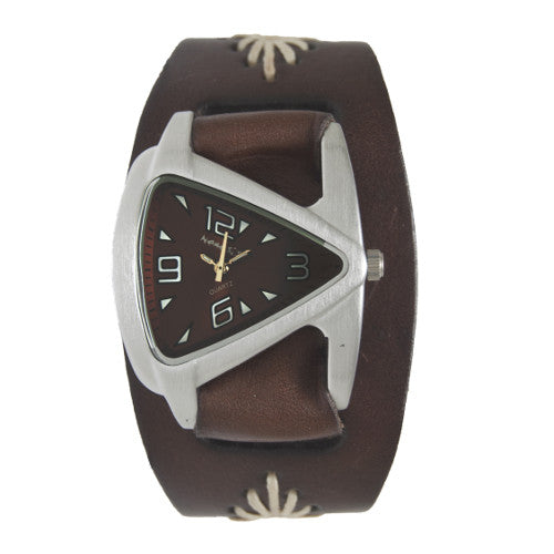 Small Brown Ladies Teardrop Watch with Diamond Stitched Leather Cuff Band, BF024K-front