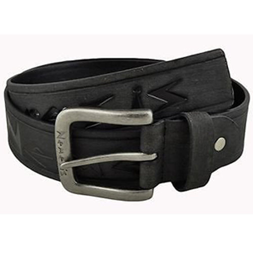 Nemesis Faded Black Distressed Embossed Stripes Logo Leather Belt Size 32-38