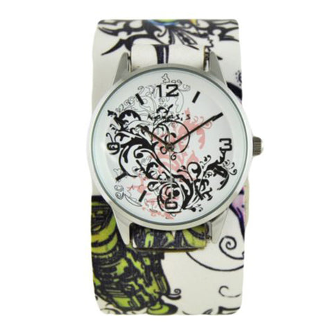Pink Plant Art Watch with Tattoo Floral Design Leather Cuff Band 827P-302