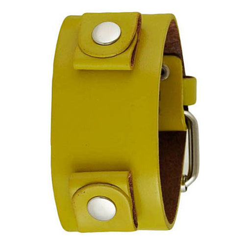 Basic Junior Size Yellow Leather Cuff Watch Band 20mm YGB