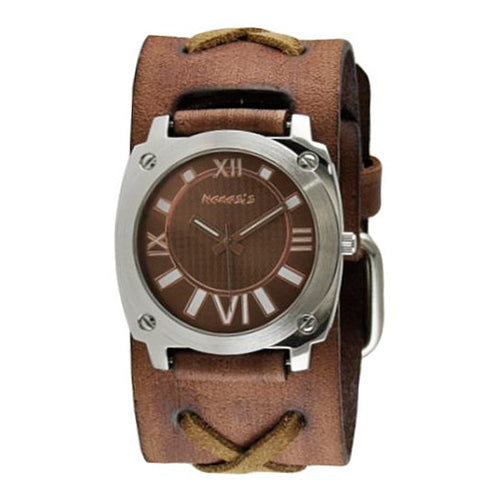 Brown Roman Numerals Ladies Watch with Brown X Faded Leather Cuff Band 066BFXBB